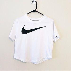 Nike Logo Swoosh Cropped White Athleisure Tee